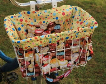 Cupcakes Galore Bike Basket Liner and Purse in One in Black
