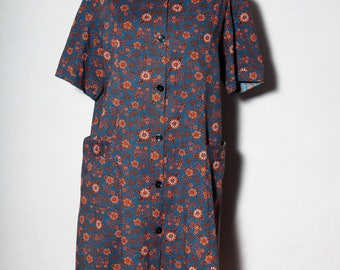 dress 60s Midnight blue and orange flower