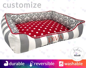 Red & Gray Dog Bed | Polka Dot, Stripe, Damask, Traditional |  Select Your Fabrics or Design You Own