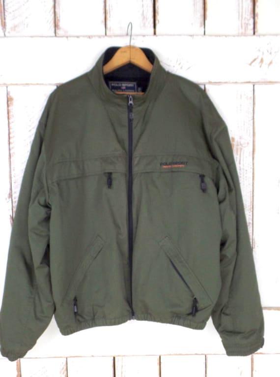 Sport large hiking Lauren green jacket outerwear 90s camping Polo windbreaker Ralph nylon army Vintage fleece EwA6qW