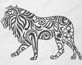 Lion SVG, cut file, cricut, lion stencil, Zentangle design, scroll saw, vinyl, wall decor, sticker, Silhouette Studio, scrapbooking, tattoo