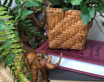 Woven basket plant holder