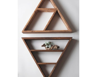 "TWO Solid Wood Pyramids - Triangle Shelves 13.5""x 3"" . Different design & Color"