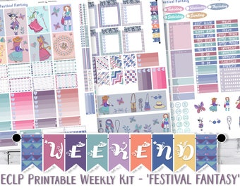 EC Planner Sticker Kit, ECLP Weekly Stickers, Boho Hipster 'Festival Fantasy', Erin Condren vertical, PRINTABLE Planner Stickers Cut File