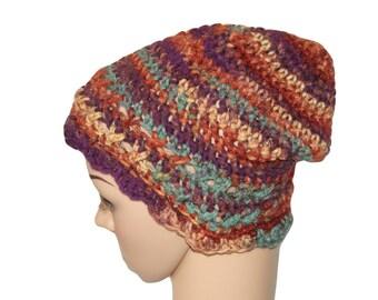 Womens Stripe Hat, Womens Fall Hat, Purple Womens Cloche Hat, Slouch Hat, Winter Hat, Ladies Hat, Crochet Womens Hat, Flapper Hat