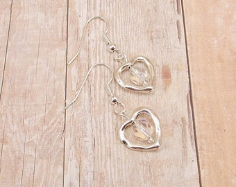 Earrings - Silver Plated Hearts - Clear Center (or Choose Your Color)