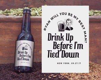 Bachelor labels/ beer bottle label/ bachelor stickers/ wedding labels/ wine label stickers/ best man labels/ groomsman gift/ bachelor party