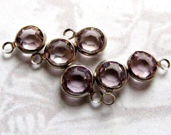 Vintage Light Amethyst Swarovski Crystal Rhinestone Crystal Channel Charms (10mm) (6X) (S534)