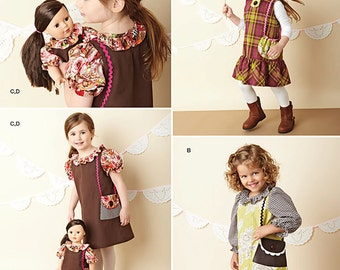 """Simplicity Sewing Pattern 1289 Child's Dresses and Doll Dress For 18"""" Doll"""