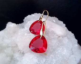 Red Topaz Heart Shaped Drop Earrings Simple Drop Solitaires on Gold Vermeil Ear Wires Minimal Drop Earrings Gift For Her