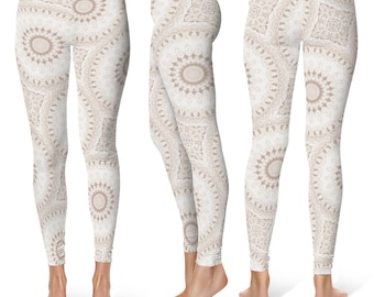 Boho Leggings, White Leggings, White and Beige Mandala Yoga Pants