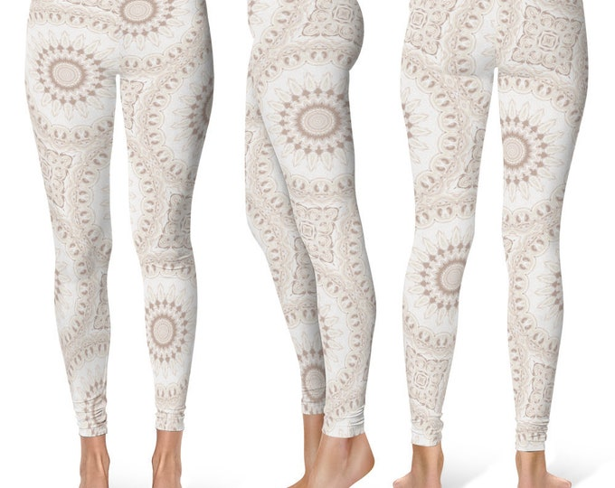Boho Leggings Yoga Pants, White Mandala Printed Yoga Tights for Women, Festival Clothing