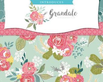 Riley Blake Grandale   Keera Job Design Studio   Quilt Fabric   Yardage   Main Floral Cream   Main Floral Pink   Pink Ditsy   By the Yard