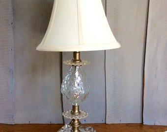 Vintage Clear Glass Lamp / Hollywood Regency Lamp / Decorative Glass Accent Lamp  / Glass and Brass Dresser Lamp