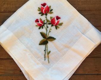 Vintage Hankie Rose White Linen