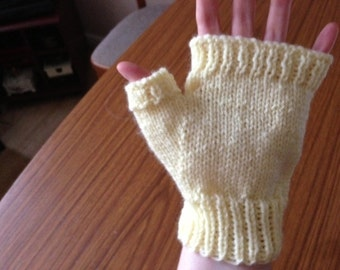 Woolly Yellow Gloves, Light Yellow Gloves, Yellow Knit Gloves, Fingerless Gloves, Knitted Gloves, Yellow Ribbed Gloves, Yellow Accessories