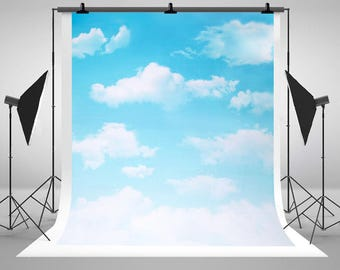 Kate Photography Background Vast Blue Sky And White Clouds Backdrop for Newborn,Children Photo Studio CM-L-261
