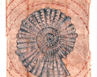 Kabbalah, Ink Drawing on teabag, ammonite shell, ink drawing, infinity, art, teabag art, mixed media, embroidery