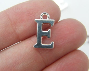 8 Letter E alphabet charms silver plated