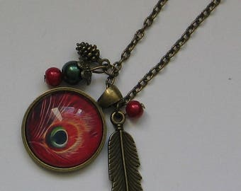 Cabochon 25mm jewel necklace * Peacock feather *.