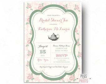 Tea Party Bridal Shower Invitation - (Printable) Floral Bridal Shower Invitation - Floral Bridal Shower Invites - Bridal Shower Tea Invite