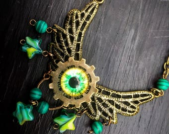Steampunk Green and Yellow Evil Eye Wing Pendant