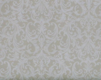 Ivory Tone on Tone Scroll 100% Cotton Quilt Fabric, Roses on the Vine Collection by Marti Michell, Yardage, MAS8436-E, Cream, Ecru