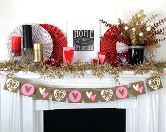 Valentine's Decoration Banner / HEARTS decor / Valentine Banner / Valentine's Decorations / My Love Sign / Be Mine Garland / Love Garland