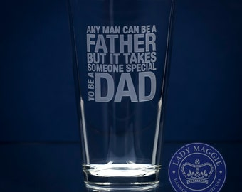 Dad Beer Pint Glass - Father Beer Glass - Dad Pub Glass - Father's Day Gift - Gift for Dad - Someone Special to be a Dad Sand Carved Glass