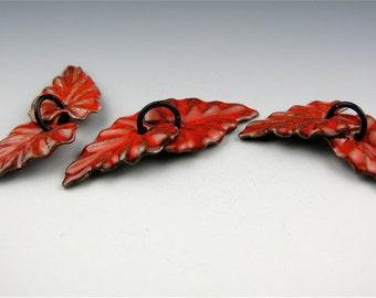 Enameled Ivy Leaf  / Orient Red Enamel / Made to order