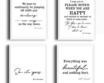 Kurt Vonnegut print - set of 4, Kurt Vonnegut Poster, Kurt Vonnegut Literary Print, Kurt Vonnegut quote, Slaughterhouse-Five, So it goes