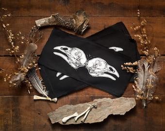 Patch Silkscreened Bird Skull & Bones