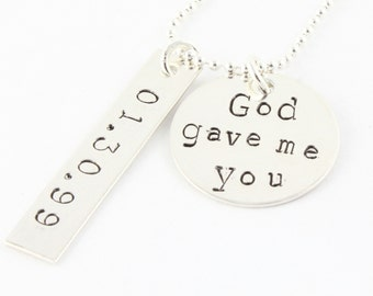 God Gave Me You Necklace - Mother's Day Gift For Mom - Personalized Necklace - Wedding Necklace With Date - Custom Mother's Necklace
