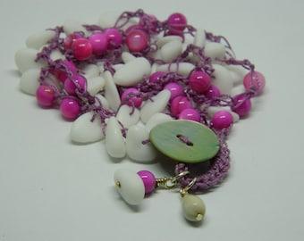 White Hot Pink, crochet, bracelet, beach, Job's Tear, bead, sea glass