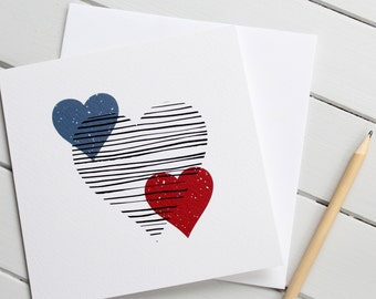 Scandi Style Love Heart Romantic Card Valentines Day Modern Pattern Gender Neutral
