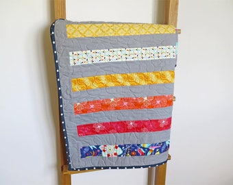 Striped baby quilt, gender neutral baby blanket, patchwork throw, red yellow blue