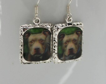 Brown PitBull Staffordshire Bull Terrier Dog Puppy Picture Earrings Silver 3D Dimensional