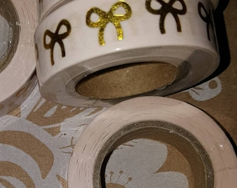 Pink Single Gold Bow Washi Tape