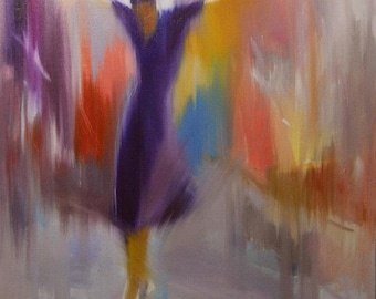 Gift for Her Large Wall Art Canvas, Fine Art Print, Modern Dancer Woman Canvas Print, Colorful Painting Print