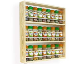 Solid Pine Spice Rack Contemporary Minimalist Style 3 Shelves Freestanding or Wall Mounted Kitchen Storage