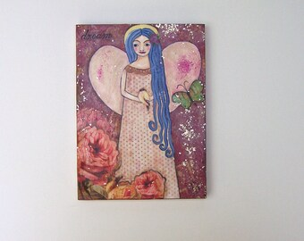 Folk Art Angel painting Original, one of a kind encaustic mixed media art