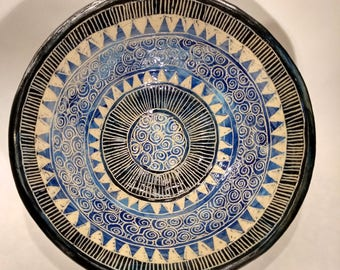 Blue and black decorated bowl