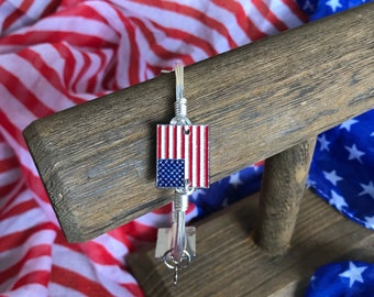 American Flag Bangle Bracelet July 4 Jewelry Independence Day Jewelry