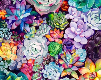 Succulent Garden -  Watercolor Painting - Floral - Rainbow - Illustration - 8x8 Giclee Print - Home Decor