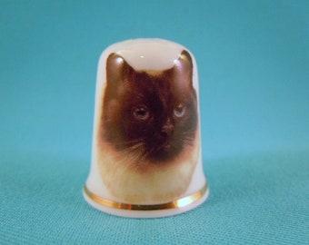 Thimble Bone China  with Birman Cat