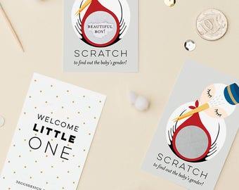 24 Gender Reveal Scratch Off Cards - Stork