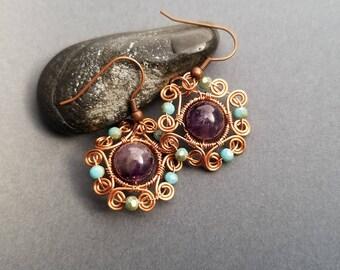 Copper Wire Wrapped AMethyst Earrings