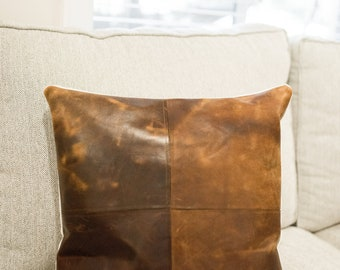 18x18 Leather pillow