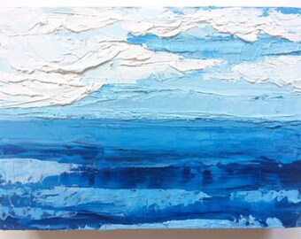 Abstract oil painting, seascape, blue ocean painting, beach painting, blue ocean waters, cloudy sky, horizon