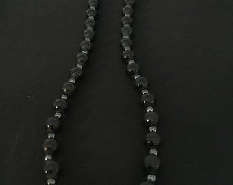 Blackstone and hematite natural gemstone necklace